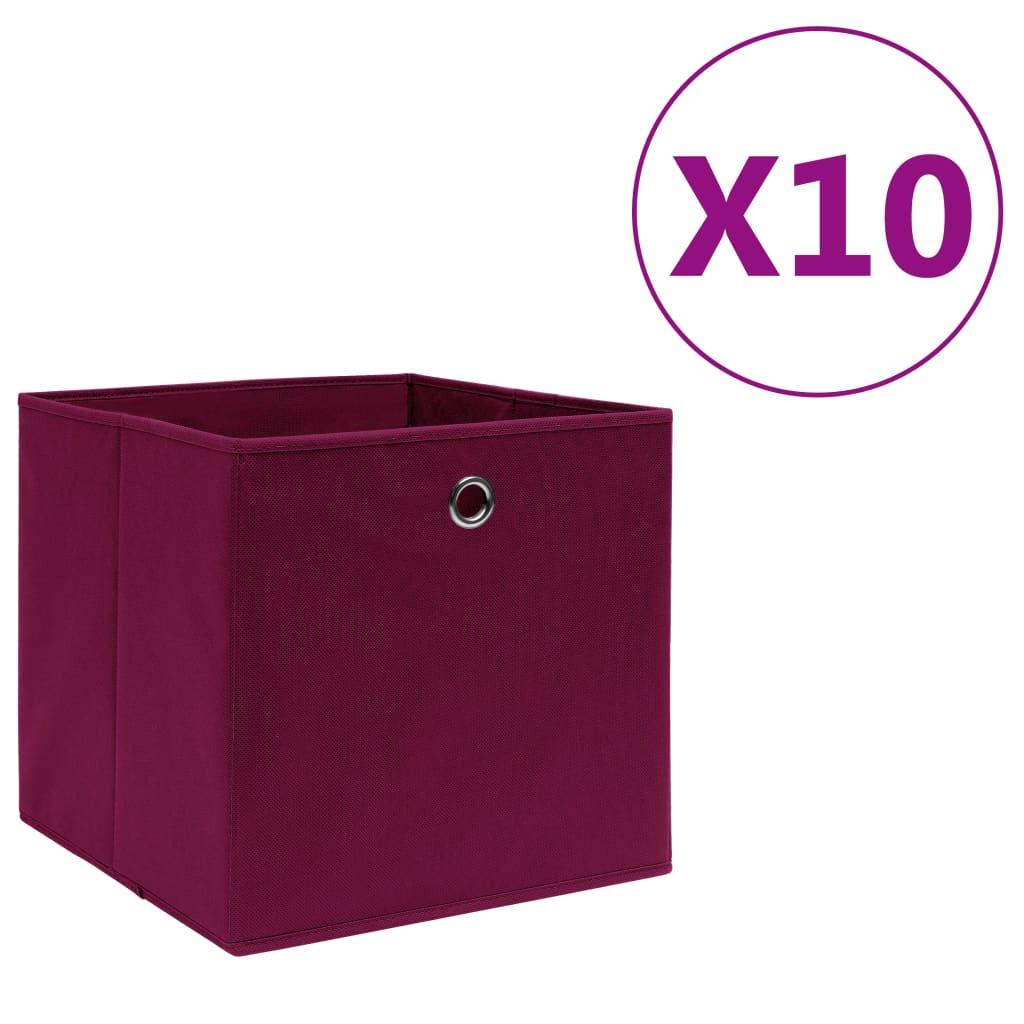 vidaXL Cutii depozitare 10buc. roșu închis 28x28x28cm material nețesut vidaxl.ro
