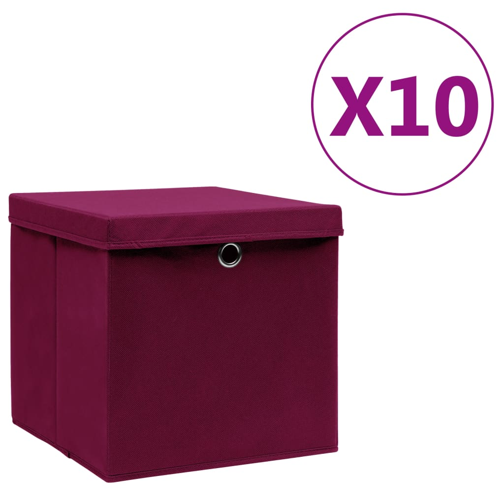 vidaXL Cutii de depozitare cu capac, 10 buc., roșu închis, 28x28x28cm imagine vidaxl.ro