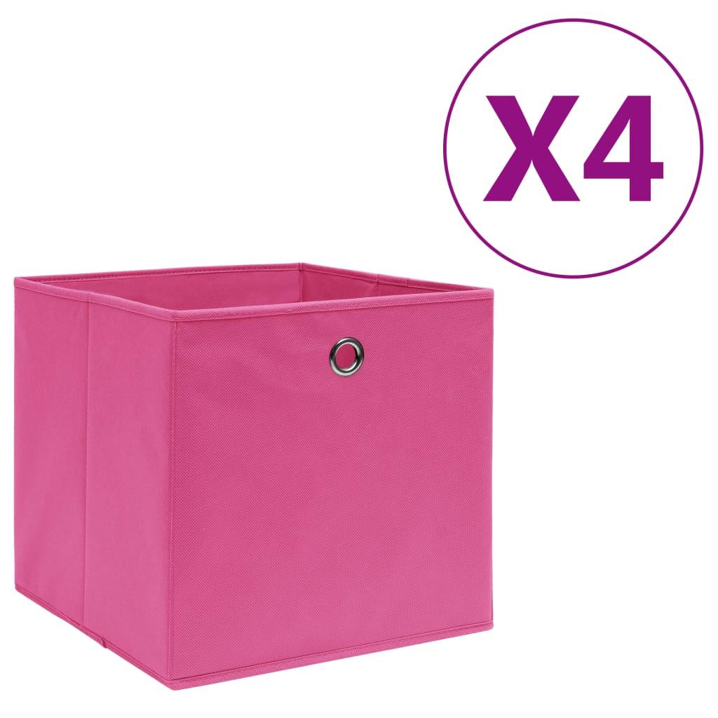 vidaXL Cutii depozitare, 4 buc., roz, 28x28x28 cm, textil nețesut vidaxl.ro