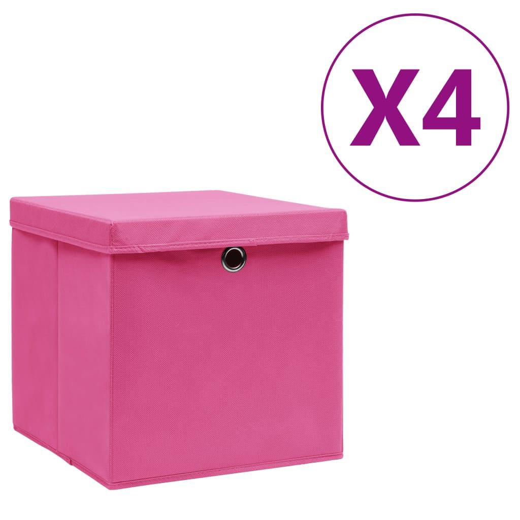 vidaXL Cutii depozitare cu capac, 4 buc., roz, 28x28x28 cm vidaxl.ro