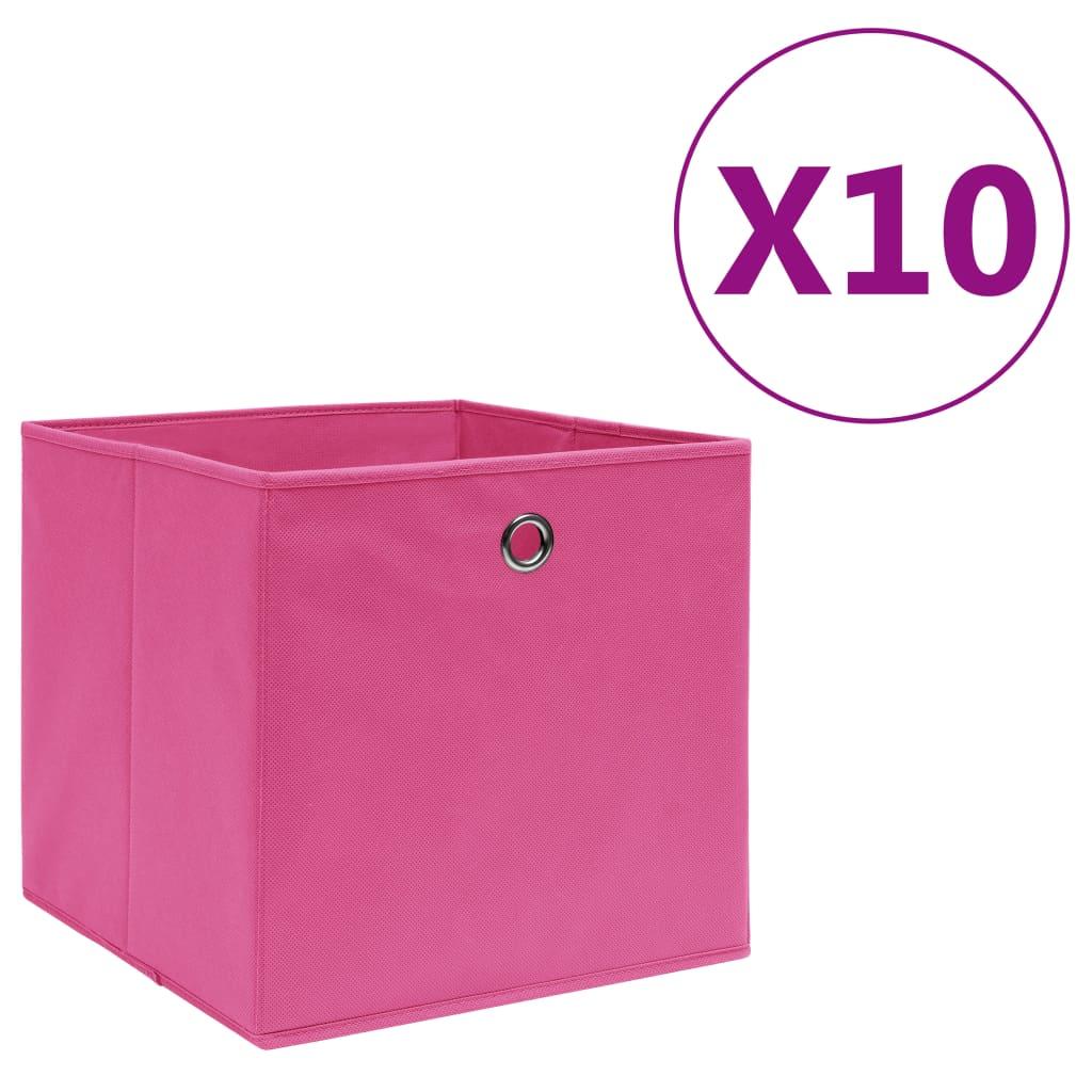 vidaXL Cutii depozitare, 10 buc., roz, 28x28x28 cm, material nețesut imagine vidaxl.ro