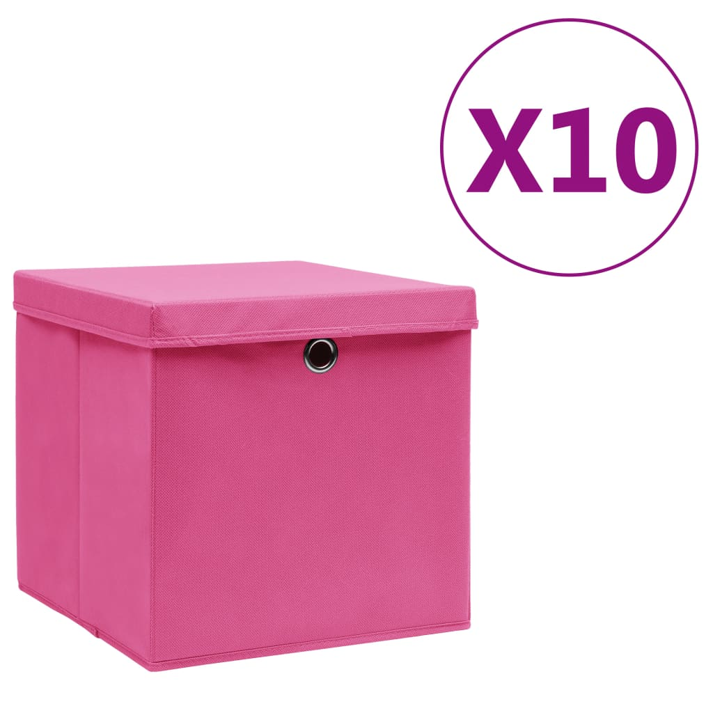 vidaXL Cutii de depozitare cu capac, 10 buc., roz, 28x28x28 cm vidaxl.ro