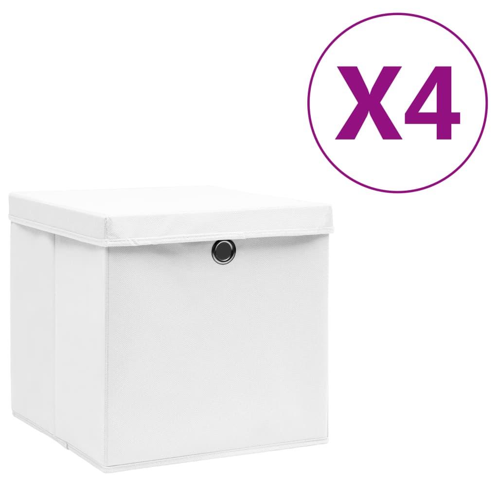 vidaXL Cutii depozitare cu capac, 4 buc., alb, 28x28x28 cm vidaxl.ro