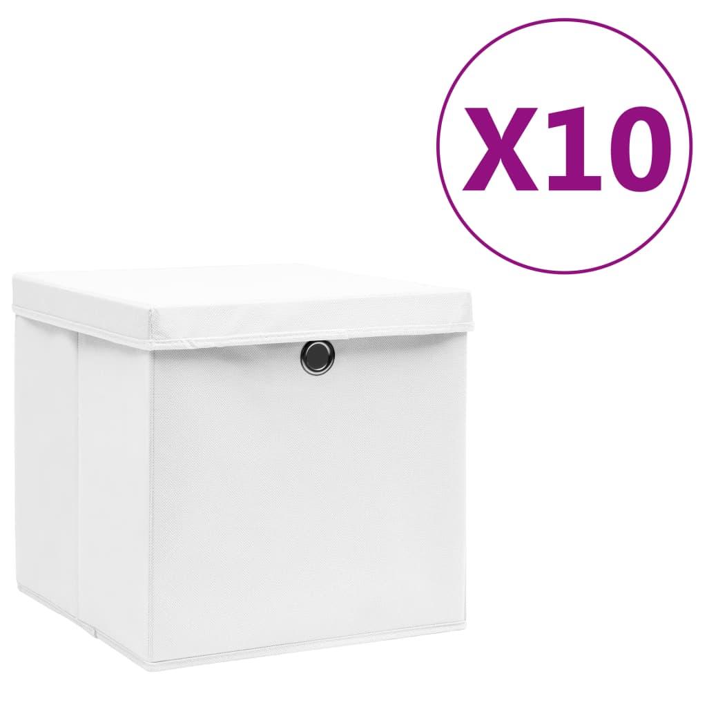 vidaXL Cutii de depozitare cu capac, 10 buc., alb, 28x28x28 cm imagine vidaxl.ro