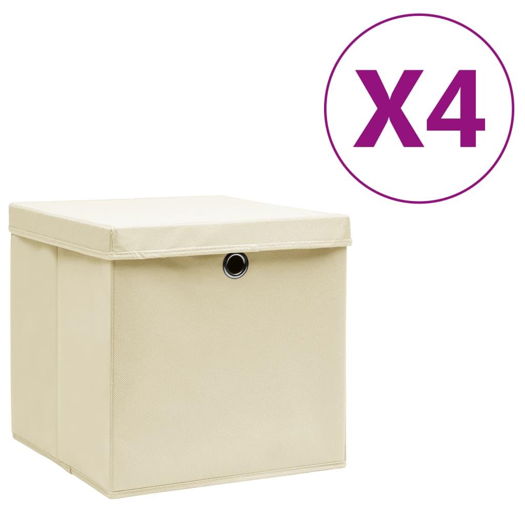 vidaXL Cutii depozitare cu capac, 4 buc., crem, 28x28x28 cm vidaxl.ro