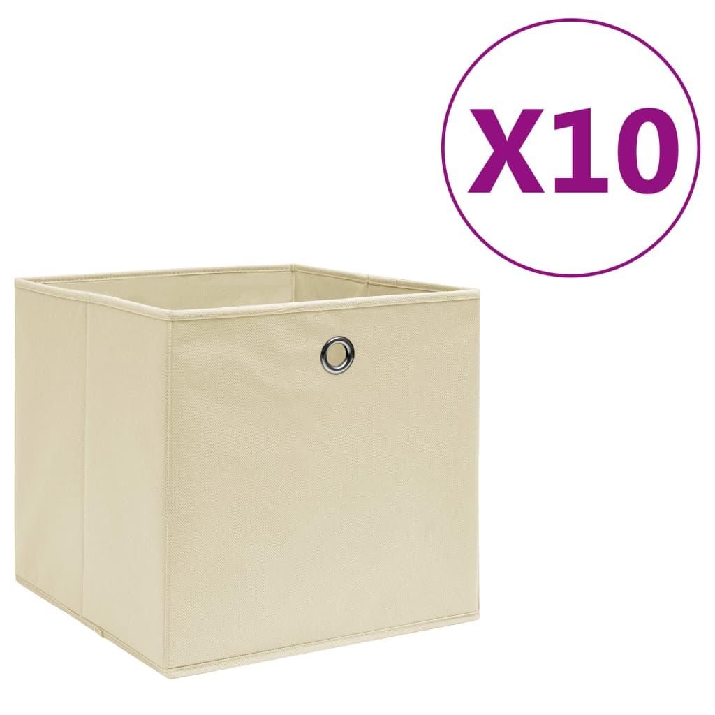vidaXL Cutii depozitare, 10 buc., crem, 28x28x28 cm, material nețesut vidaxl.ro
