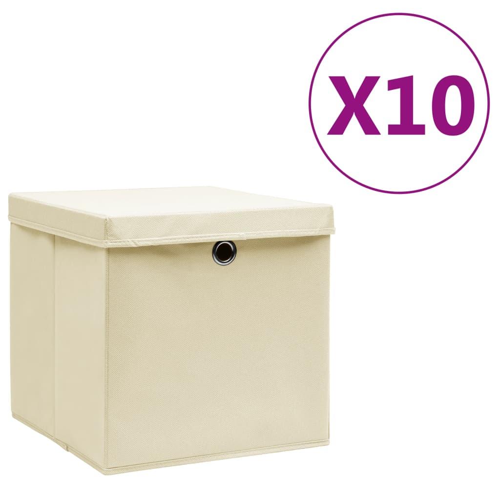 vidaXL Cutii de depozitare cu capac, 10 buc., crem, 28x28x28 cm vidaxl.ro