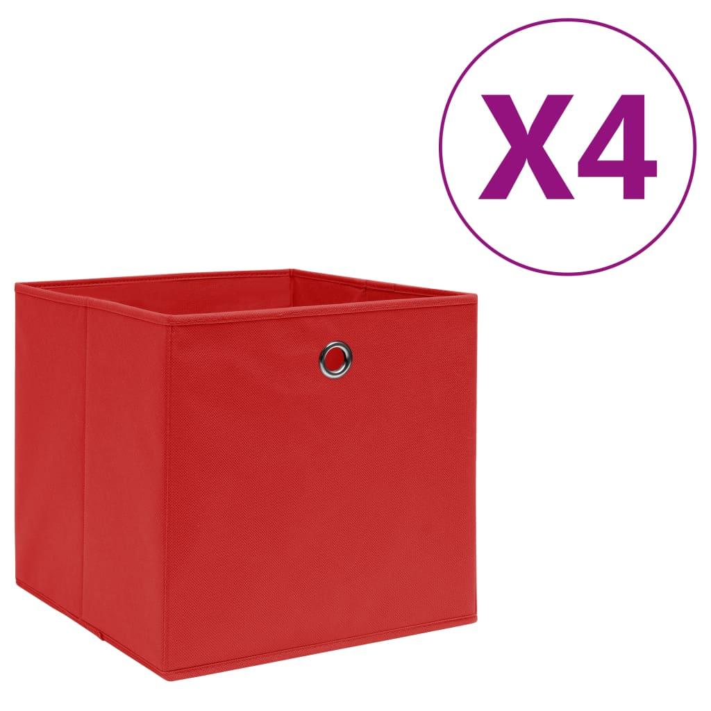 vidaXL Cutii depozitare, 4 buc., roșu, 28x28x28 cm, textil nețesut imagine vidaxl.ro