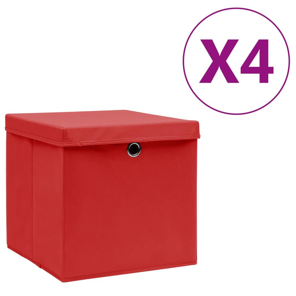 vidaXL Cutii depozitare cu capac, 4 buc., roșu, 28x28x28 cm imagine vidaxl.ro