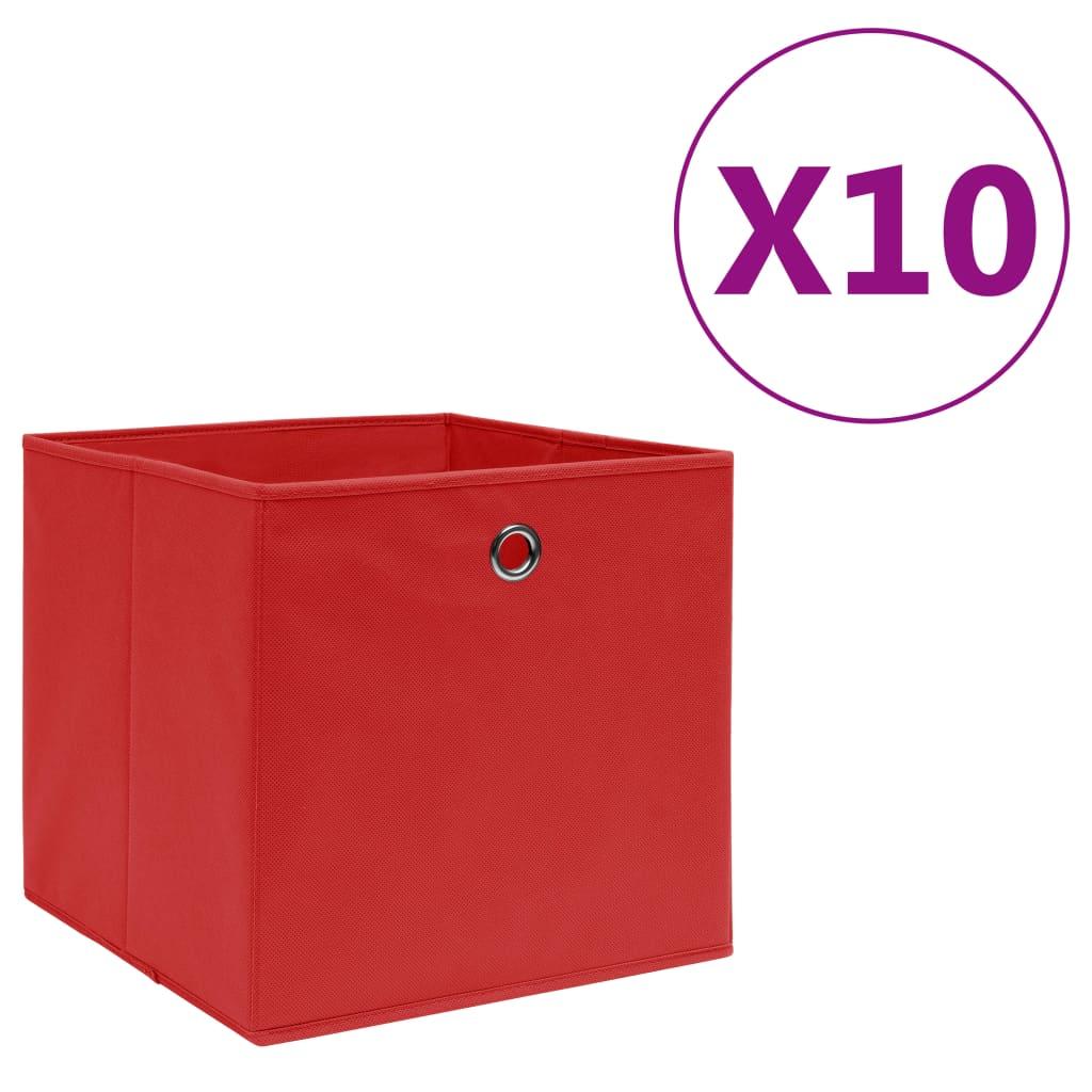 vidaXL Cutii depozitare, 10 buc., roșu, 28x28x28 cm, material nețesut vidaxl.ro