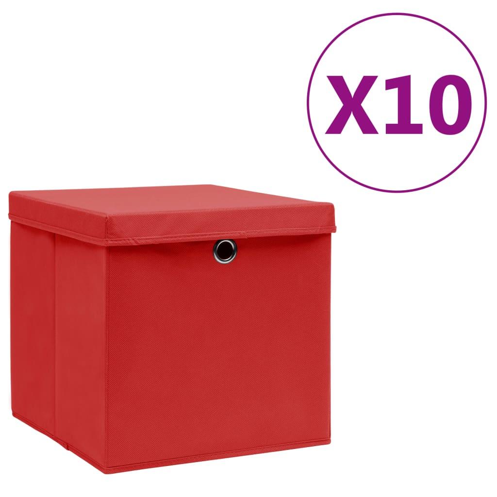vidaXL Cutii de depozitare cu capac, 10 buc., roșu, 28x28x28 cm imagine vidaxl.ro