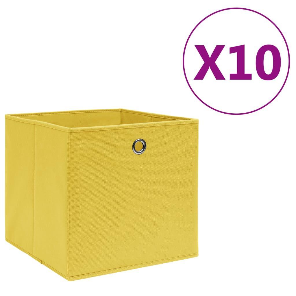 vidaXL Cutii depozitare, 10 buc., galben, 28x28x28cm, material nețesut vidaxl.ro