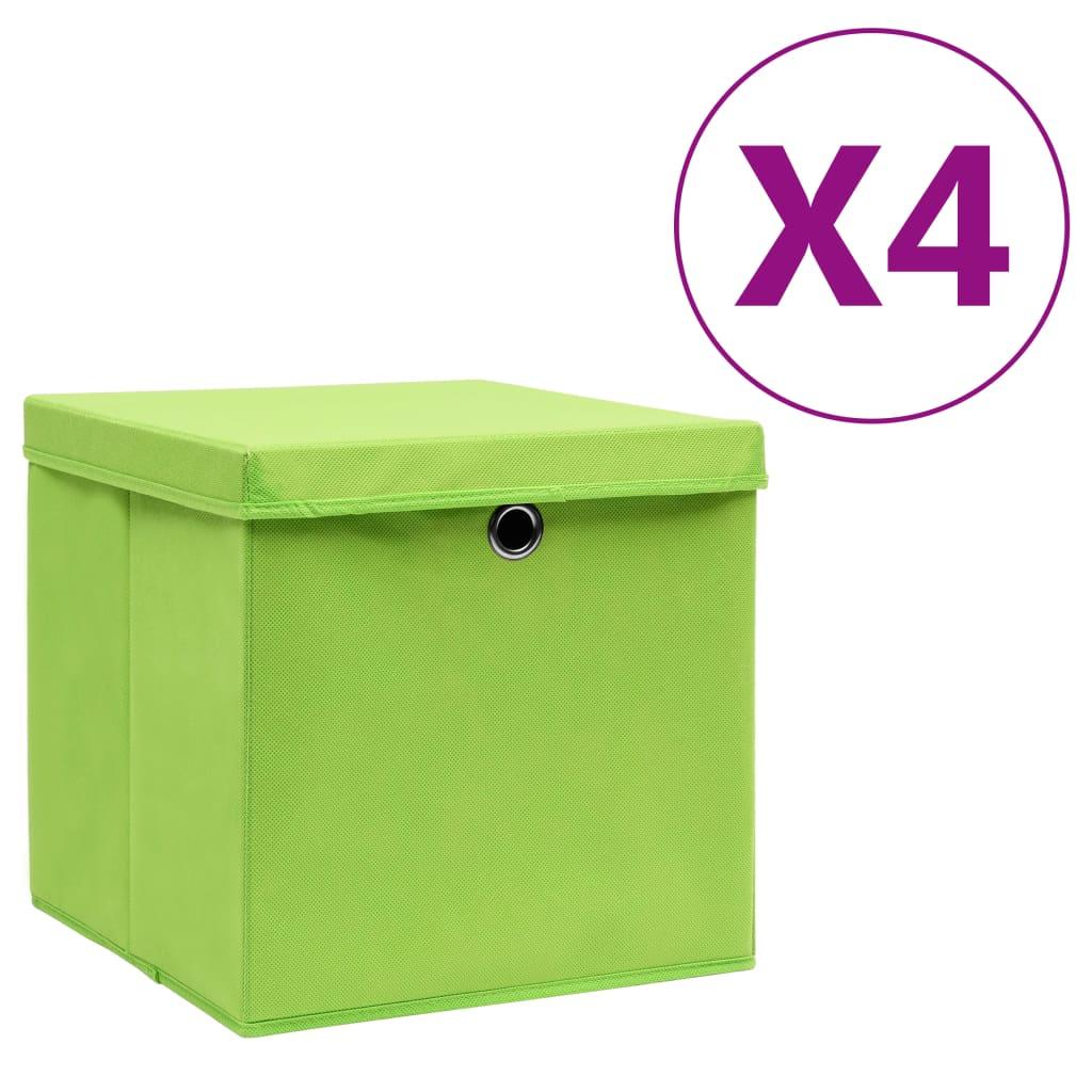 vidaXL Cutii depozitare cu capac, 4 buc., verde, 28x28x28 cm imagine vidaxl.ro