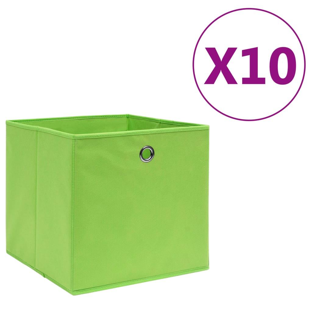 vidaXL Cutii depozitare, 10 buc., verde, 28x28x28 cm, material nețesut imagine vidaxl.ro