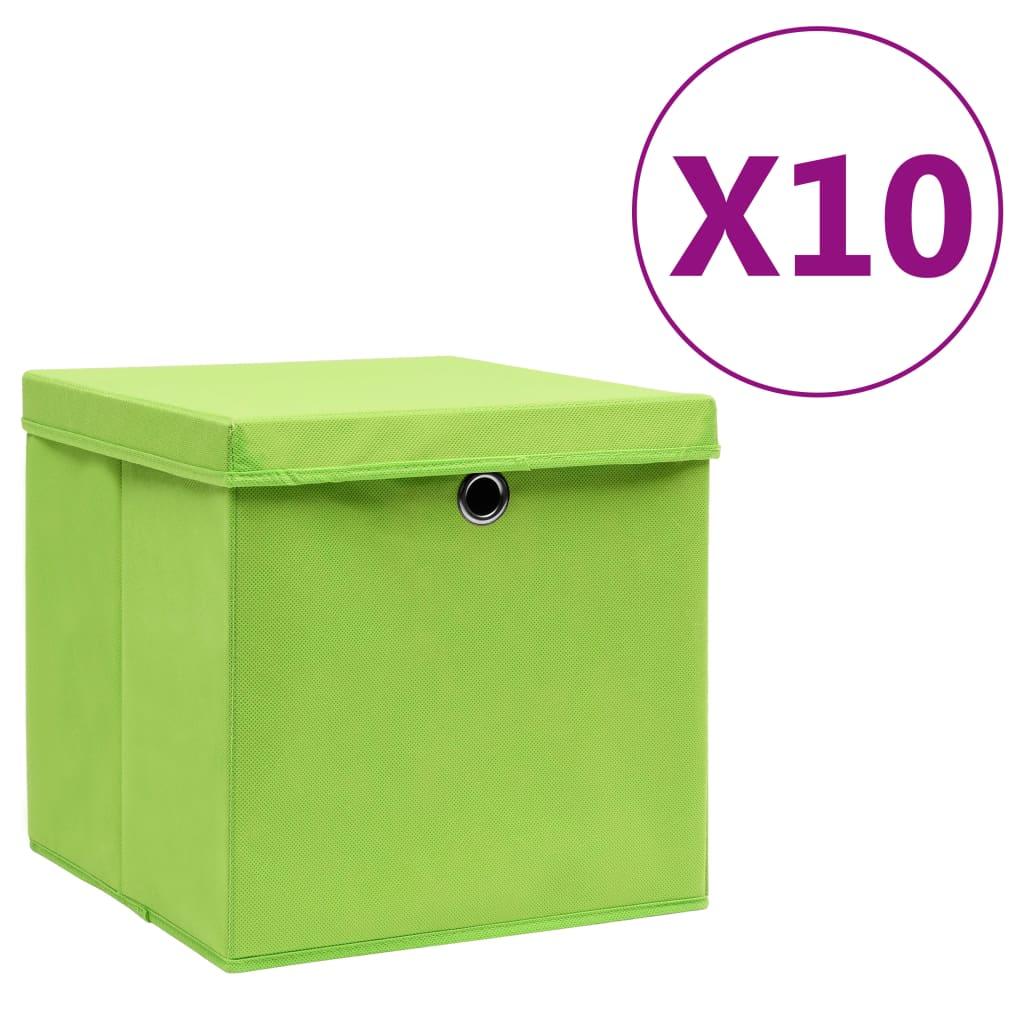 vidaXL Cutii de depozitare cu capac, 10 buc., verde, 28x28x28 cm poza vidaxl.ro