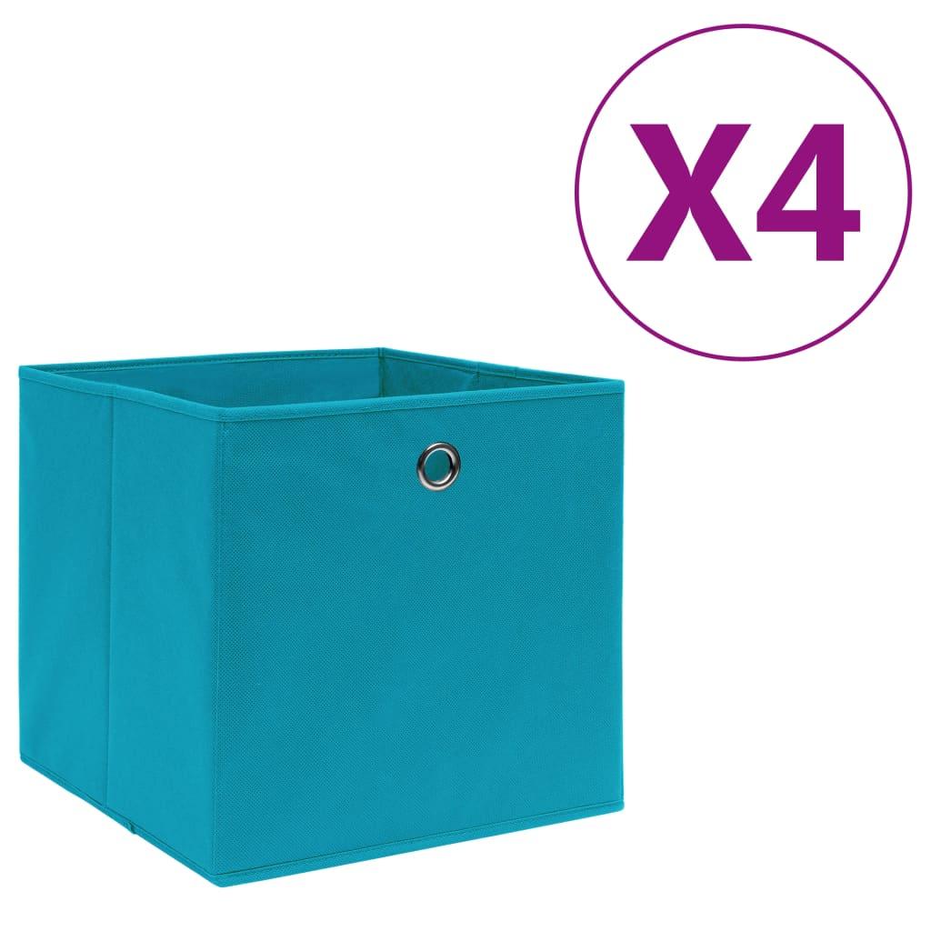 vidaXL Cutii depozitare, 4 buc., bleu, 28x28x28 cm, textil nețesut poza vidaxl.ro