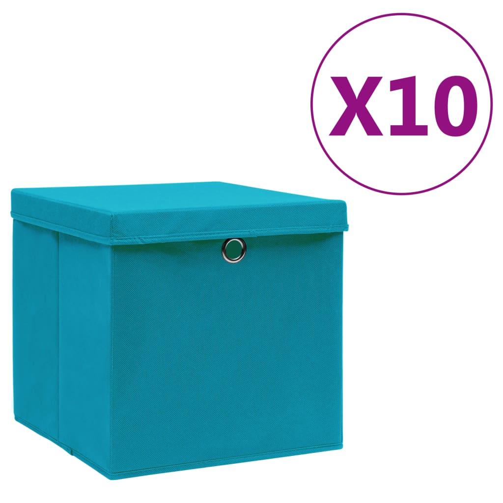 vidaXL Cutii de depozitare cu capac, 10 buc., bleu, 28x28x28 cm poza vidaxl.ro