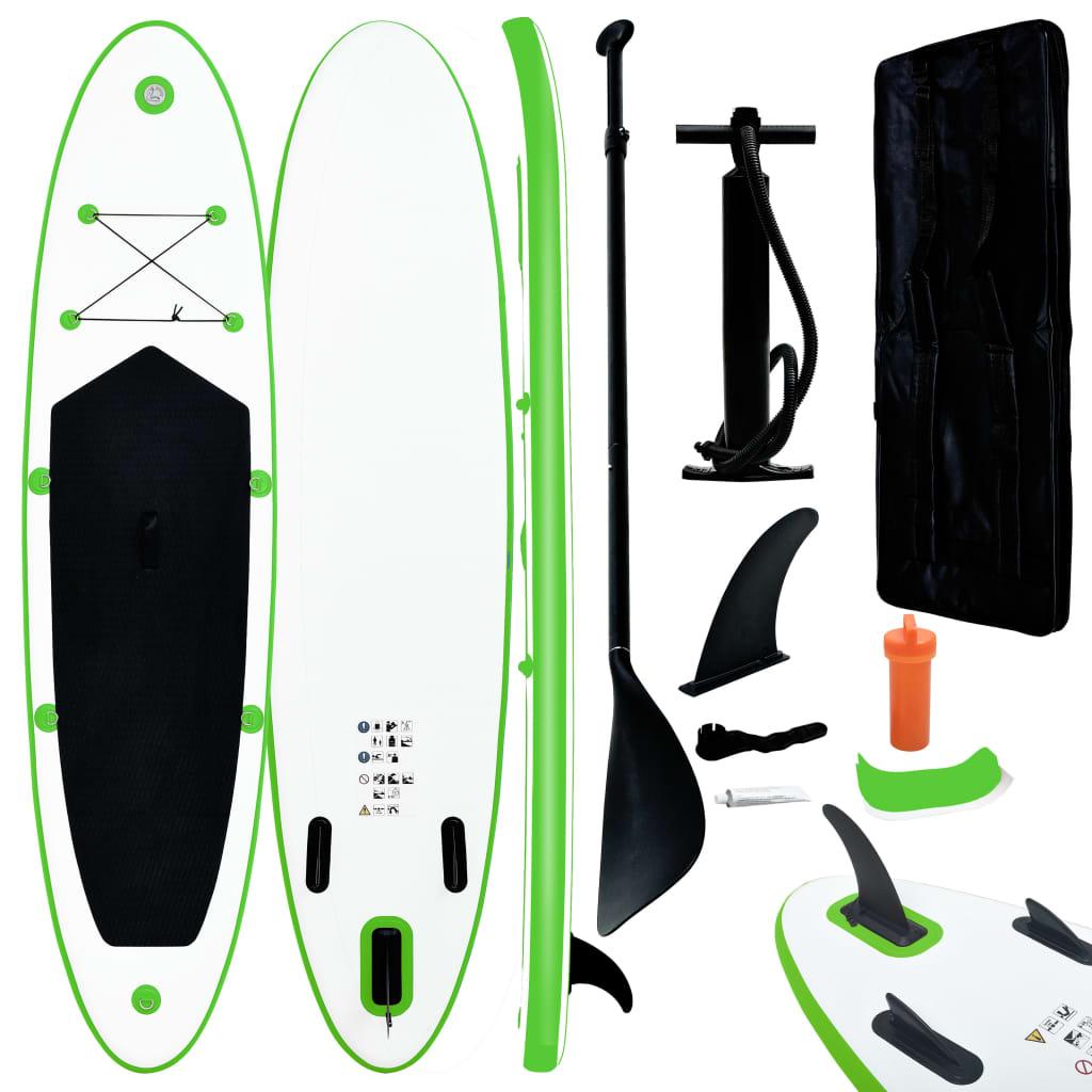 vidaXL Set de placă SUP gonflabilă, verde și alb poza 2021 vidaXL