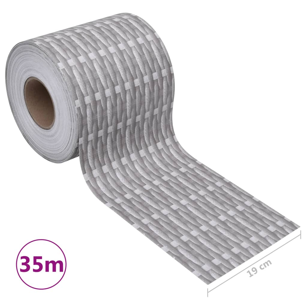 Tuinscherm 35x0,19 m PVC rattangrijs