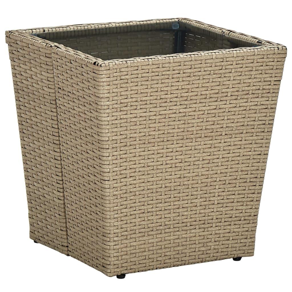 Čajový stolek béžový 41,5x41,5x44 cm polyratan a tvrzené sklo