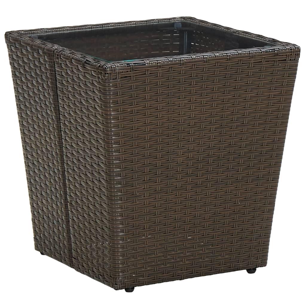 Čajový stolek hnědý 41,5x41,5x44 cm polyratan a tvrzené sklo