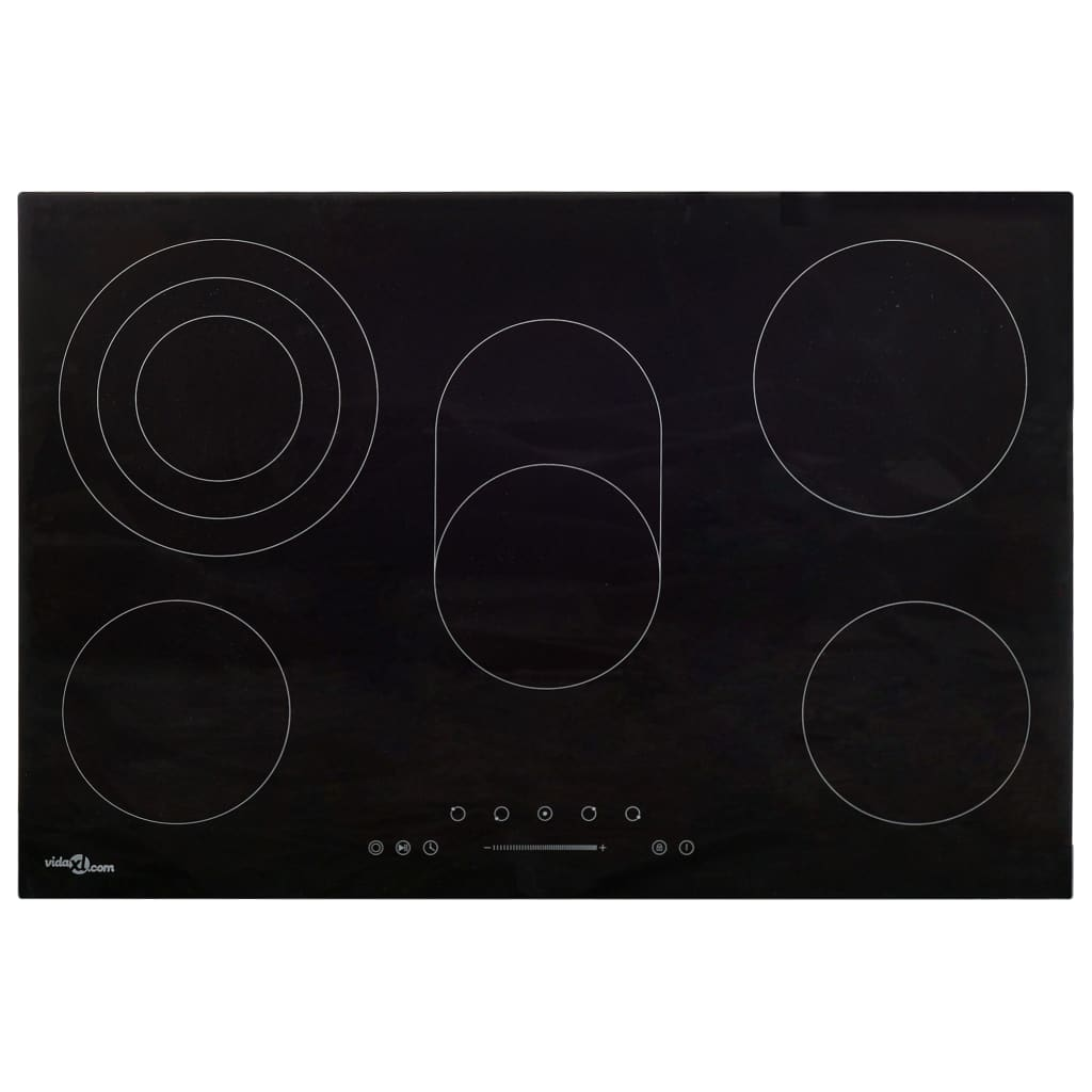 vidaXL Plită ceramică cu 5 arzătoare, control tactil, 90 cm, 8500 W imagine vidaxl.ro