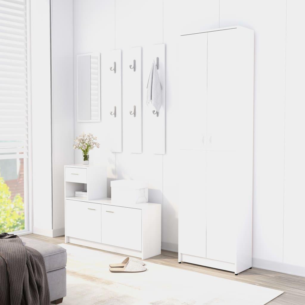 vidaXL Set mobilier pentru hol, alb, PAL (802849 + 802840) poza vidaxl.ro