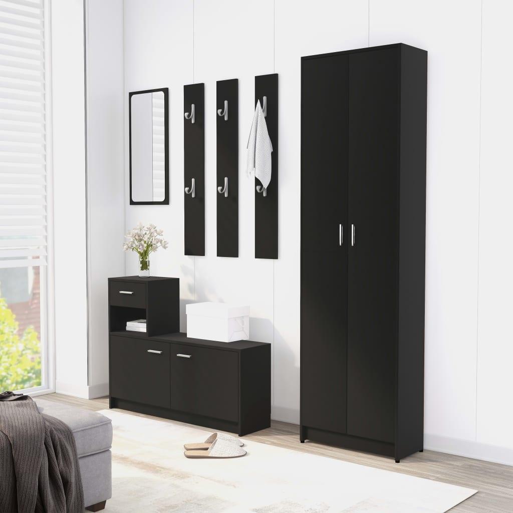 vidaXL Set mobilier pentru hol, negru, PAL (802850 + 802841) vidaxl.ro