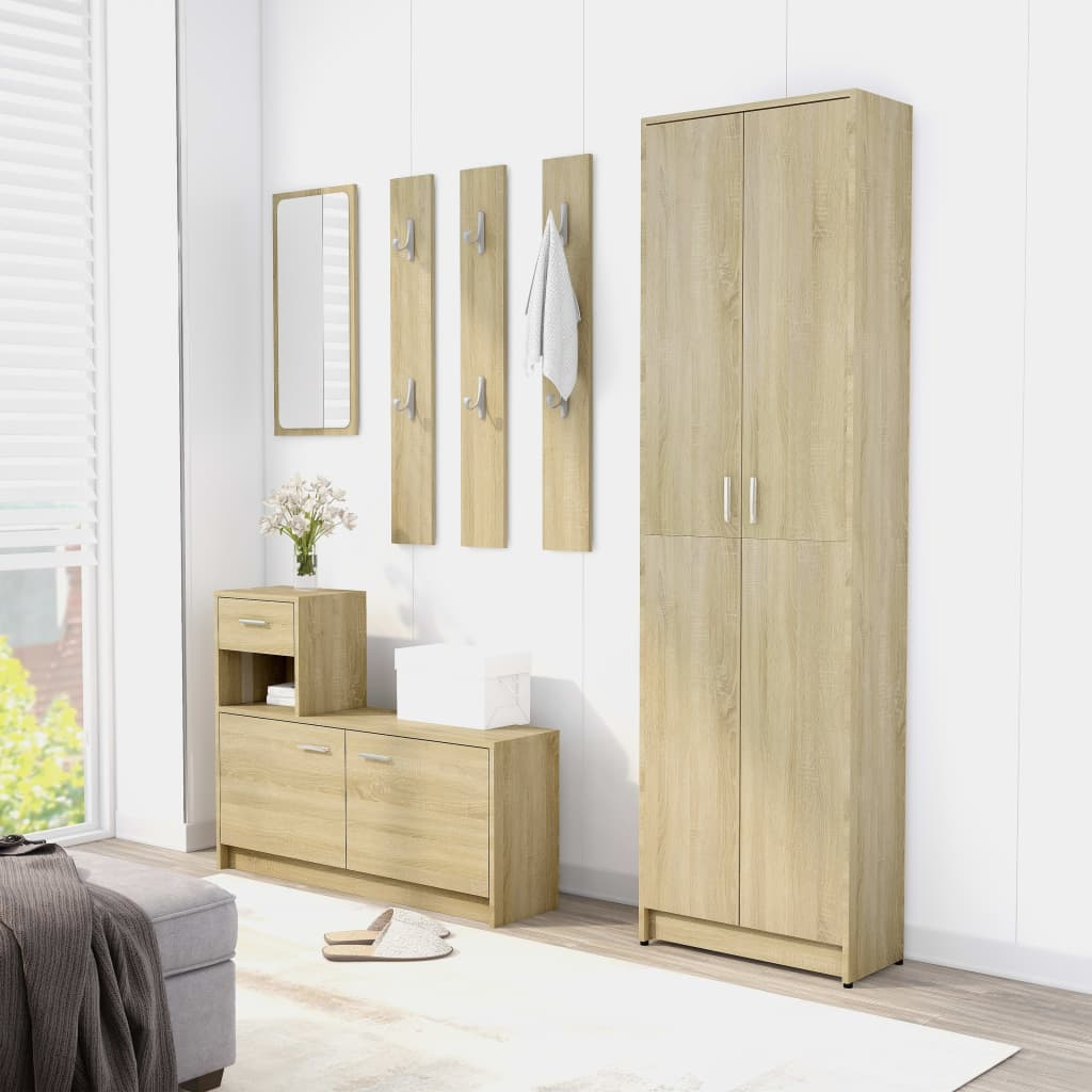 vidaXL Set mobilier de baie, stejar Sonoma, PAL (802852+802843) poza 2021 vidaXL