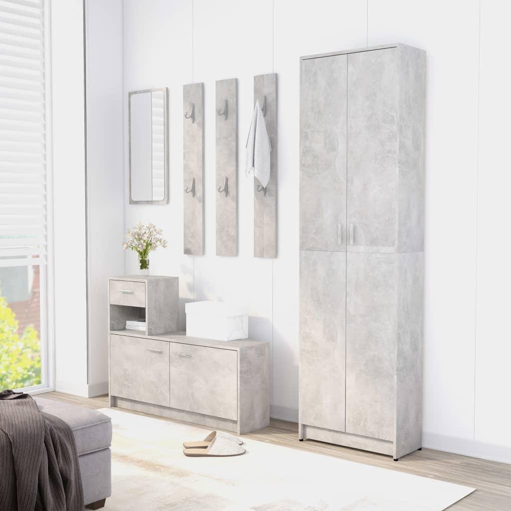 vidaXL Set mobilier pentru hol, gri beton, PAL (802853+802844) poza 2021 vidaXL