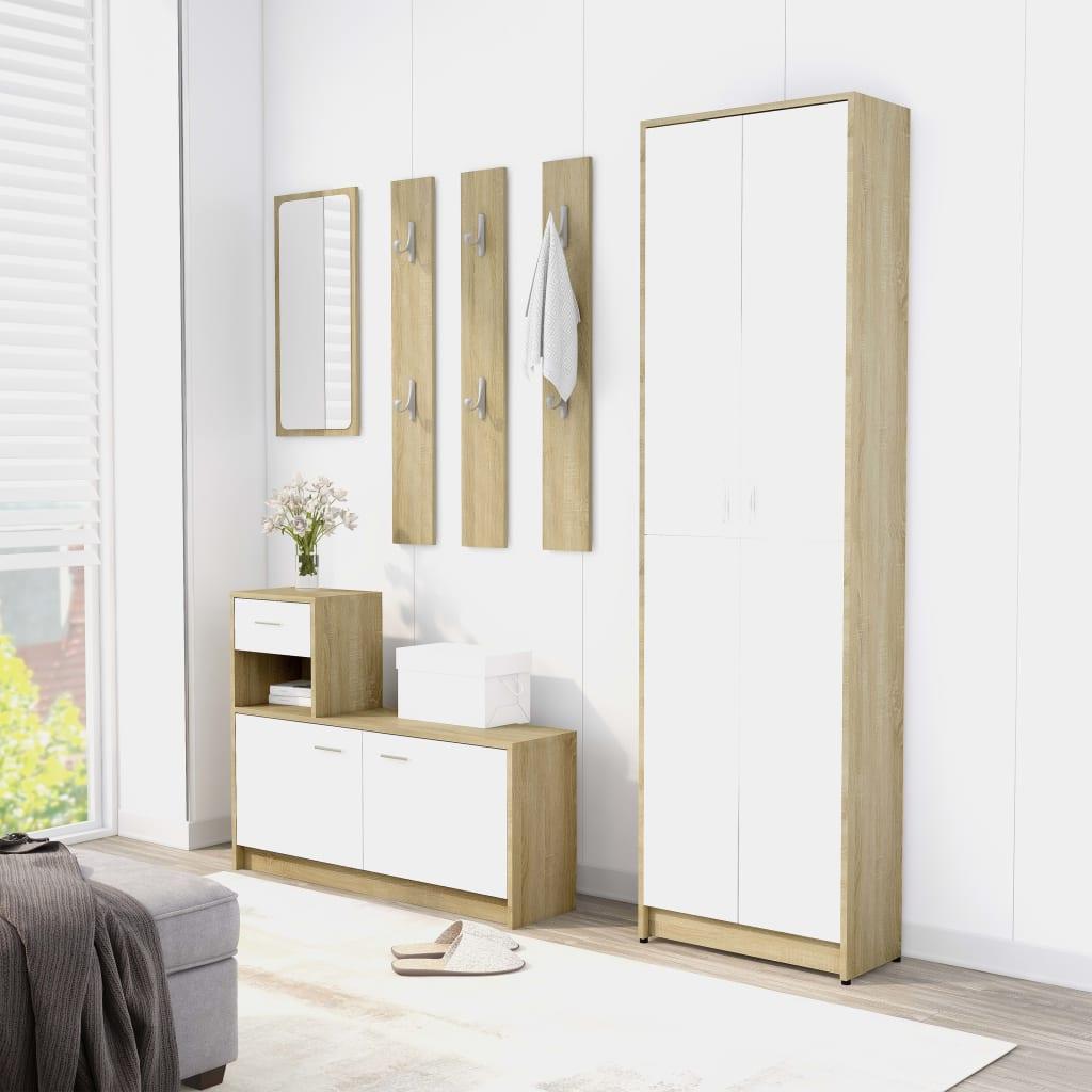 vidaXL Set mobilier de hol, alb și stejar Sonoma, PAL (802854+802845) vidaxl.ro