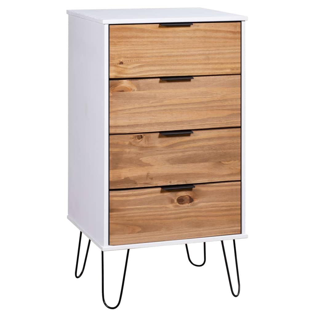 vidaXL Comodă sertare, lemn deschis și alb, 45x39,5x90,3, lemn pin poza 2021 vidaXL