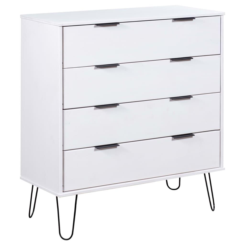 vidaXL Comodă cu sertare alb 76,5x39,5x90,3 cm lemn masiv de pin poza 2021 vidaXL