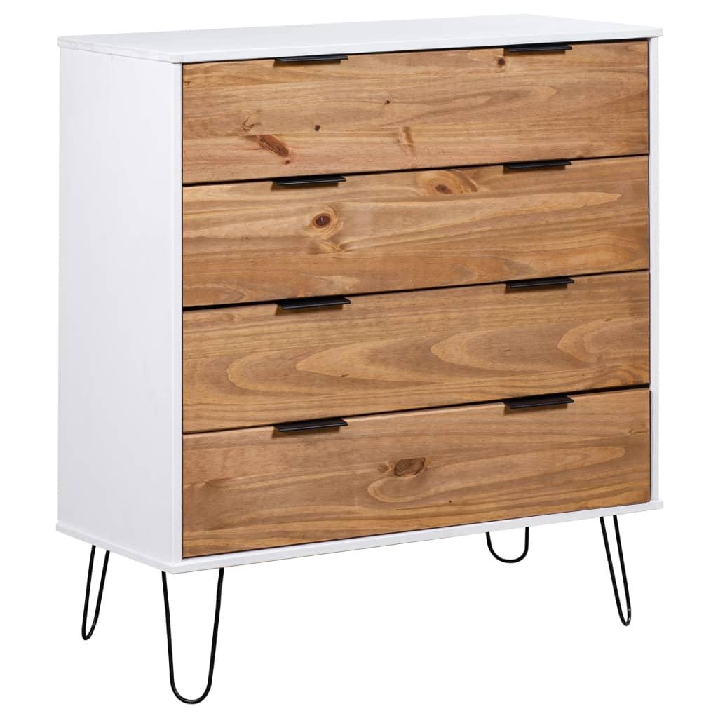 vidaXL Comodă cu sertare lemn deschis & alb 76,5x39,5x90,3 cm lemn pin poza 2021 vidaXL