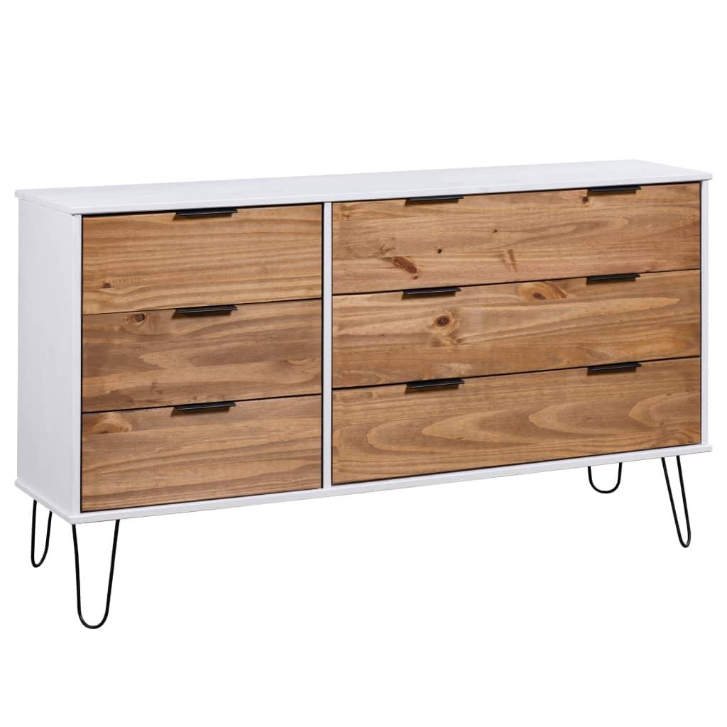 vidaXL Comodă cu sertare lemn deschis & alb 119,3x39,5x73,6cm lemn pin poza 2021 vidaXL