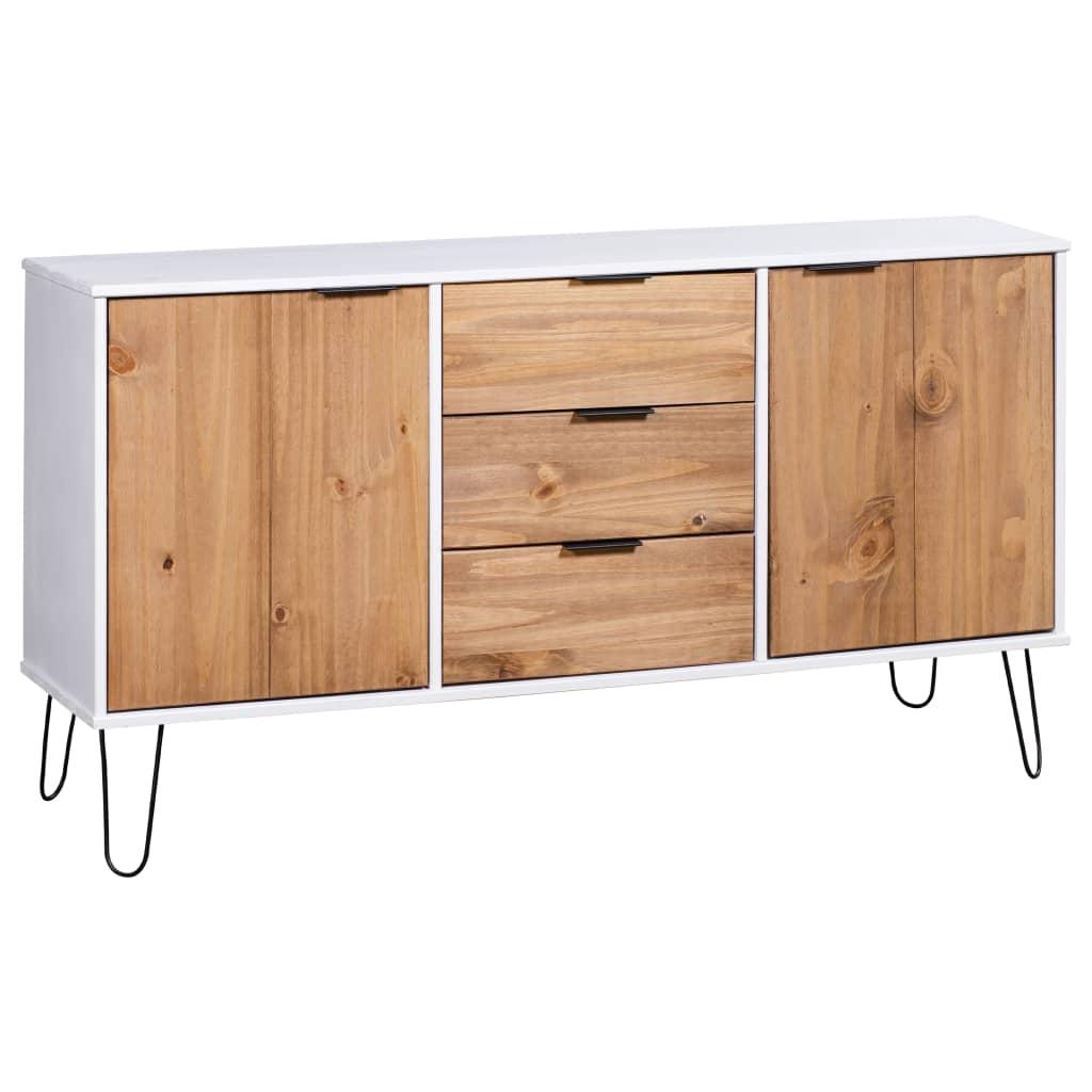 vidaXL Servantă New York Range, alb și lemn deschis, lemn masiv de pin imagine vidaxl.ro