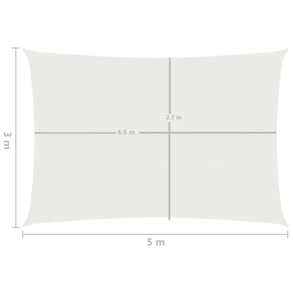 vidaXL Zonnezeil 160 g/m² 3x5 m HDPE wit