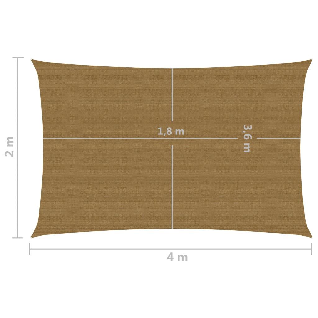 vidaXL Zonnezeil 160 g/m² 2x4 m HDPE taupe