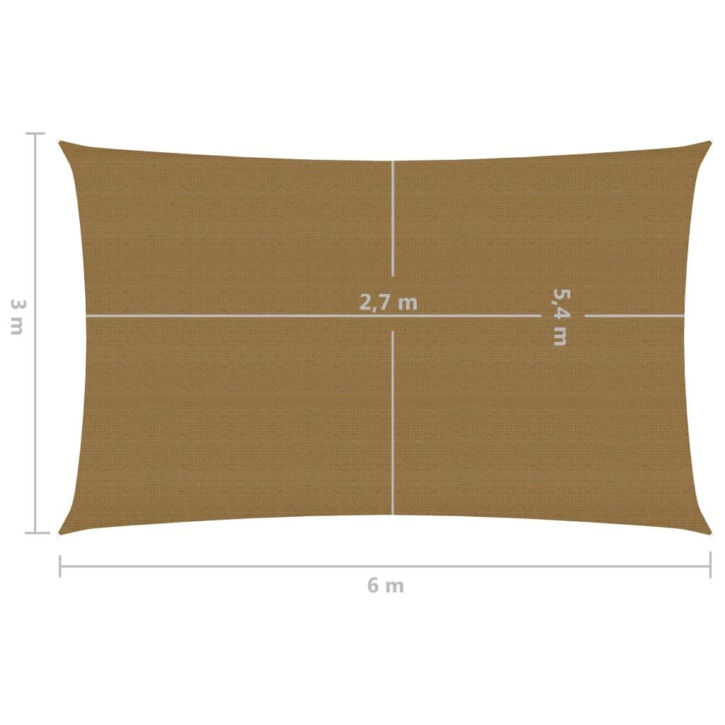 vidaXL Zonnezeil 160 g/m² 3x6 m HDPE taupe