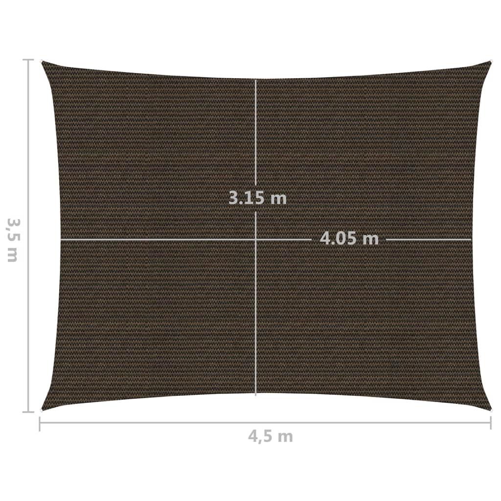 vidaXL Zonnezeil 160 g/m² 3,5x4,5 m HDPE bruin