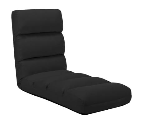 vidaXL Chaise pliable de sol Noir Similicuir