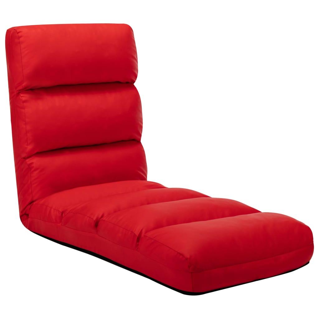 vidaXL Scaun de podea pliabil, roșu, piele ecologică vidaxl.ro