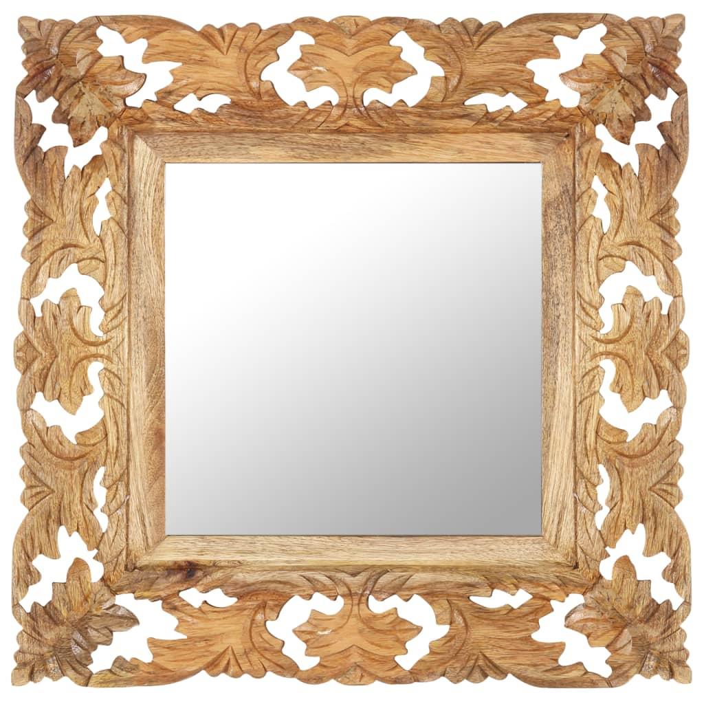 Handsnidad spegel brun 50×50 cm massivt mangoträ