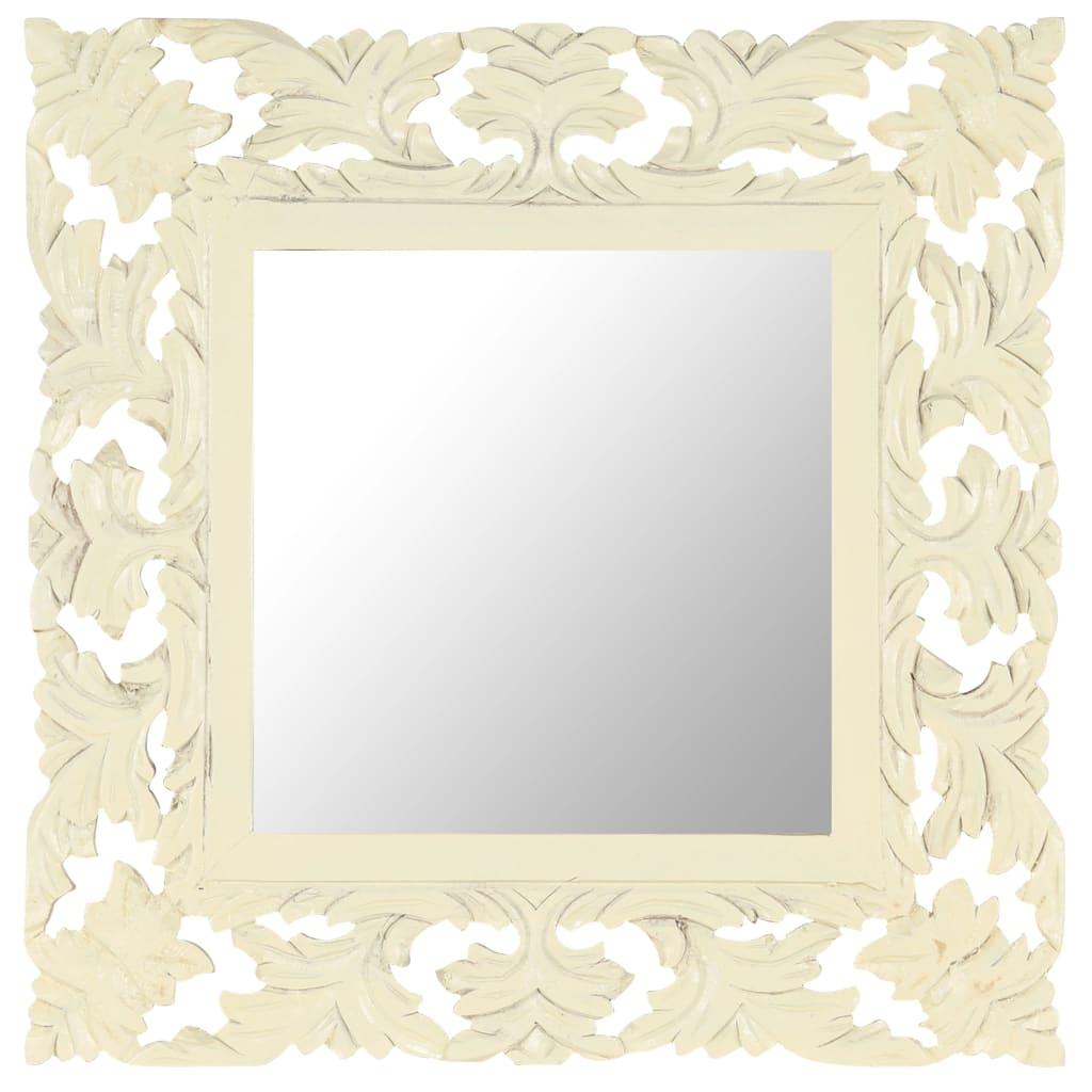 vidaXL Spiegel handgesneden 50x50 cm massief mangohout wit