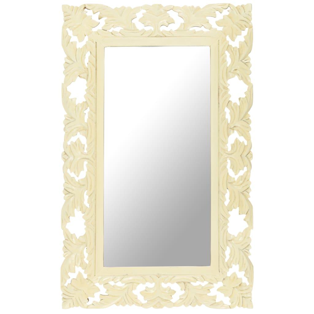 vidaXL Spiegel handgesneden 80x50 cm massief mangohout wit