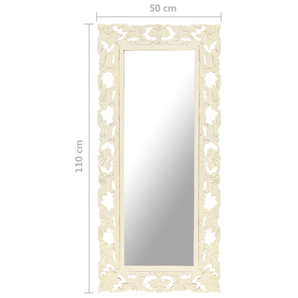 vidaXL Spiegel handgesneden 110x50 cm massief mangohout wit