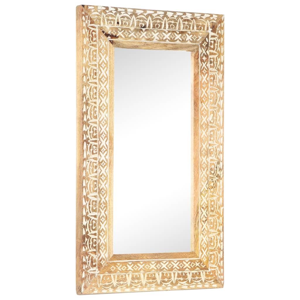 Spiegel handgesneden 80x50x11 cm massief mangohout