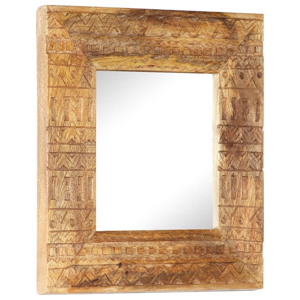 Handsnidad spegel 50x50x11 cm massivt mangoträ