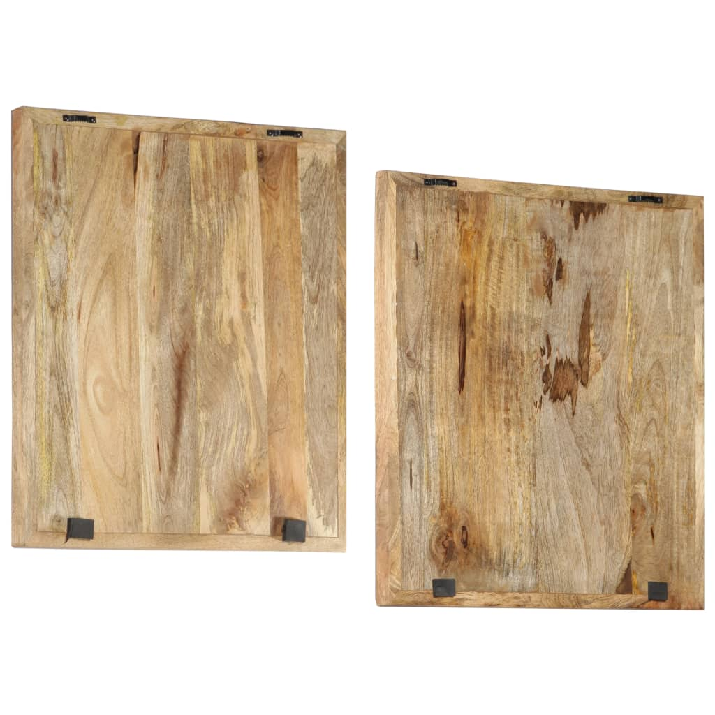 Wandpanelen 2 st handgesneden 60x60x2,5 cm massief mangohout