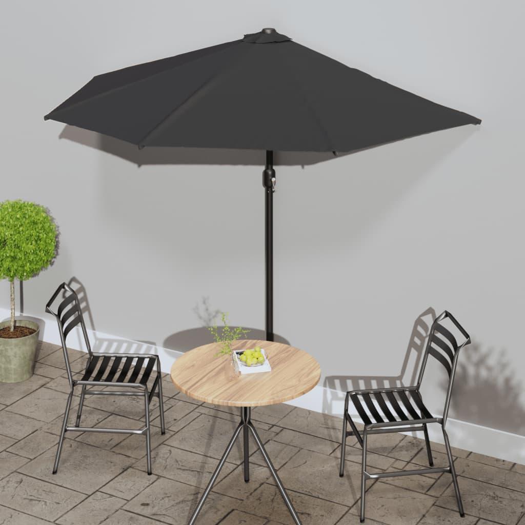 vidaXL Umbrelă de balcon tijă aluminiu negru 270x135x245cm semicerc poza 2021 vidaXL